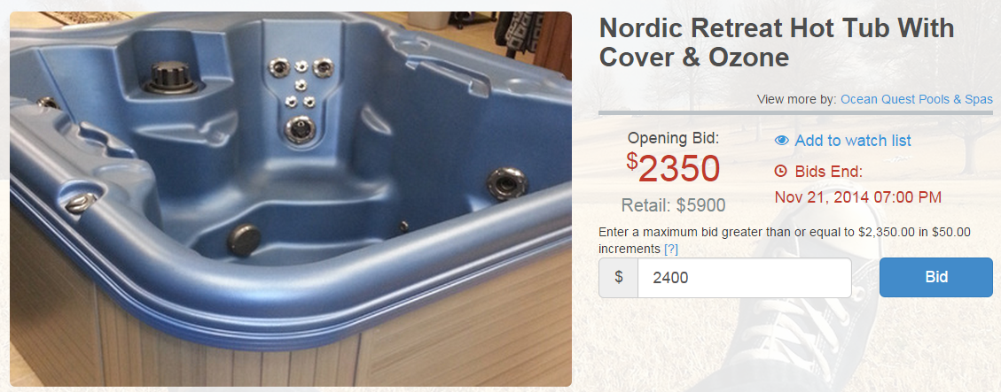 Nordic Retreat Hot Tub Available at Seize the Deal Auction