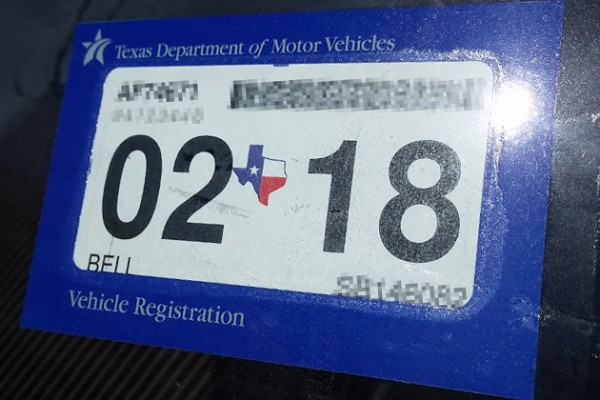 Texas car registration and inspection sticker 15